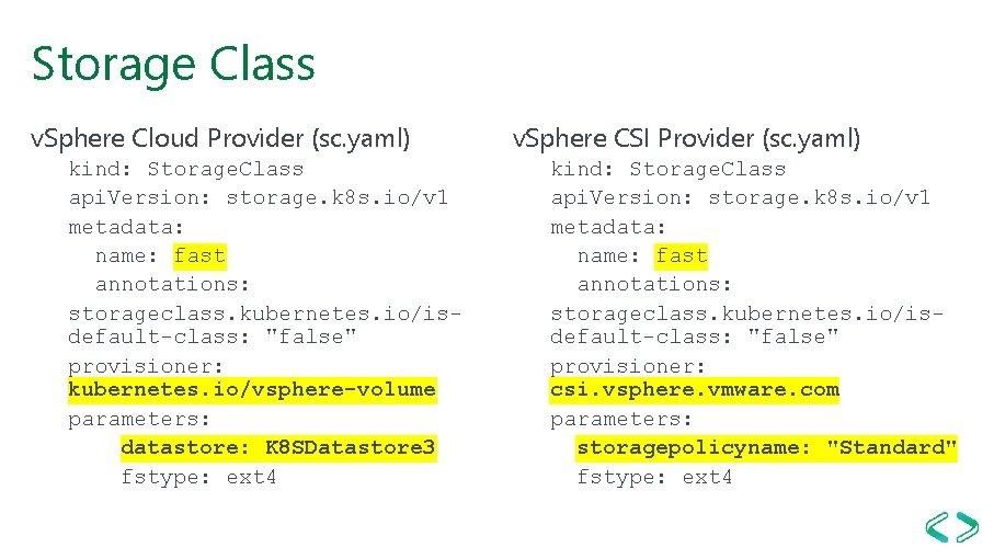 Storage Class v. Sphere Cloud Provider (sc. yaml) kind: Storage. Class api. Version: storage.