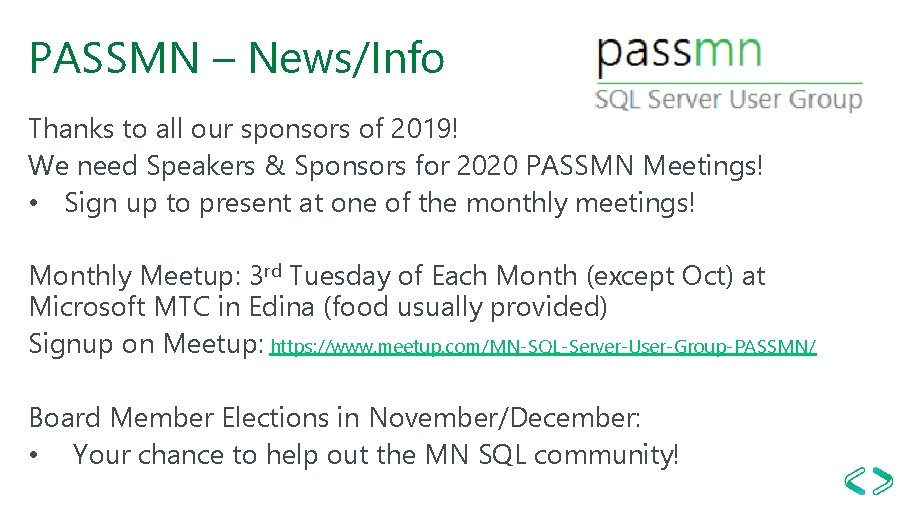PASSMN – News/Info Thanks to all our sponsors of 2019! We need Speakers &
