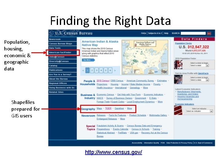 Finding the Right Data Population, housing, economic & geographic data Shapefiles prepared for GIS