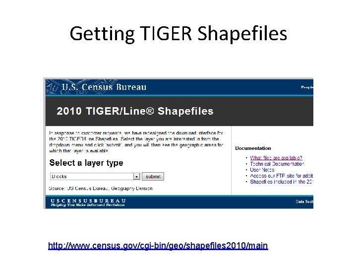 Getting TIGER Shapefiles http: //www. census. gov/cgi-bin/geo/shapefiles 2010/main