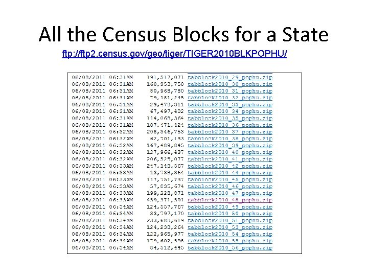 All the Census Blocks for a State ftp: //ftp 2. census. gov/geo/tiger/TIGER 2010 BLKPOPHU/