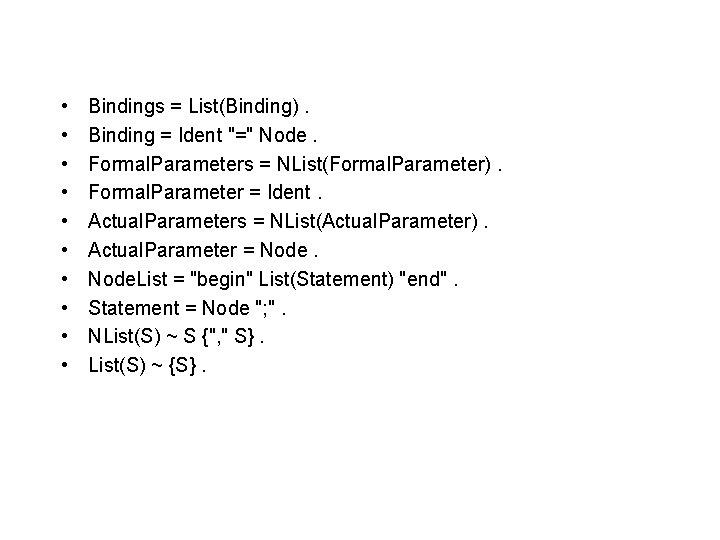 "• • • Bindings = List(Binding). Binding = Ident ""="" Node. Formal. Parameters"