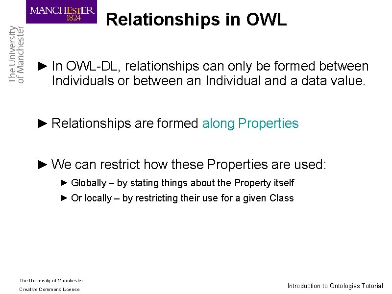 Relationships in OWL ► In OWL-DL, relationships can only be formed between Individuals or