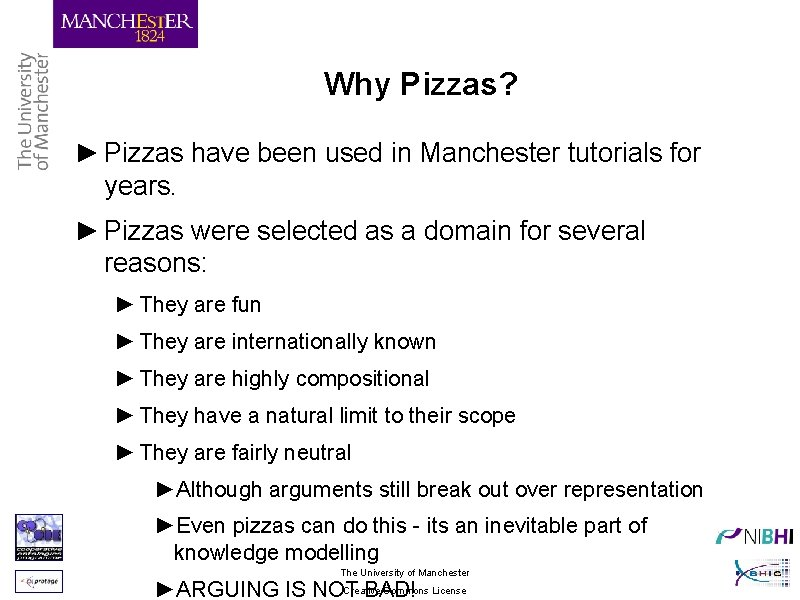 Why Pizzas? ► Pizzas have been used in Manchester tutorials for years. ► Pizzas