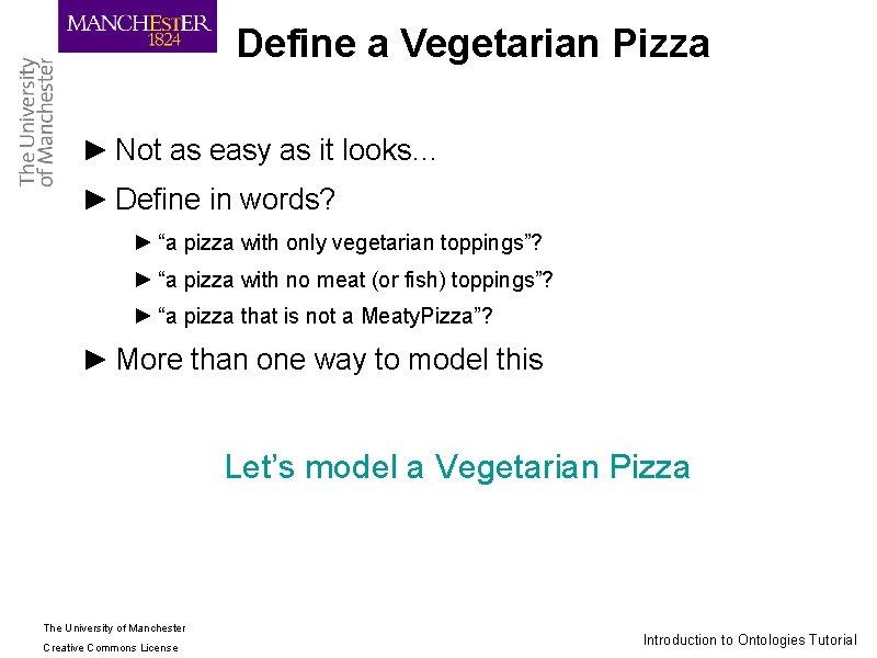 Define a Vegetarian Pizza ► Not as easy as it looks… ► Define in