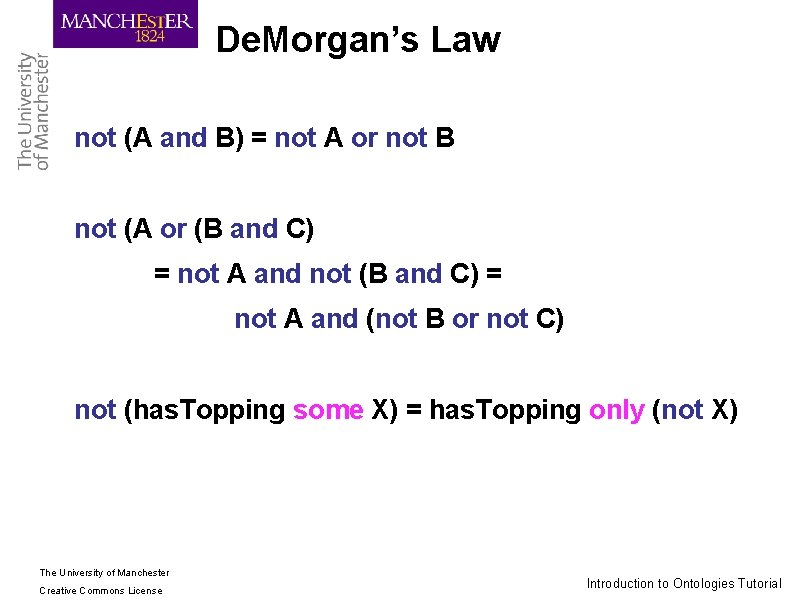 De. Morgan's Law not (A and B) = not A or not B not
