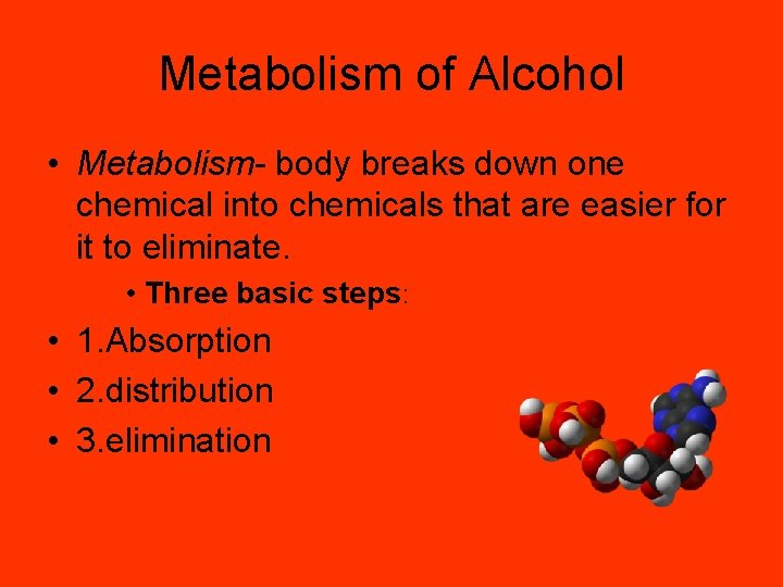 Metabolism of Alcohol • Metabolism- body breaks down one chemical into chemicals that are