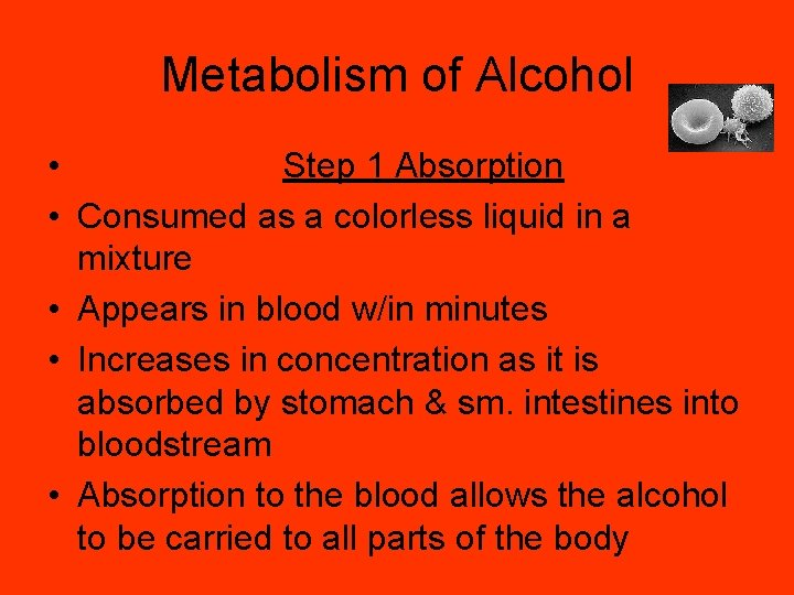 Metabolism of Alcohol • Step 1 Absorption • Consumed as a colorless liquid in