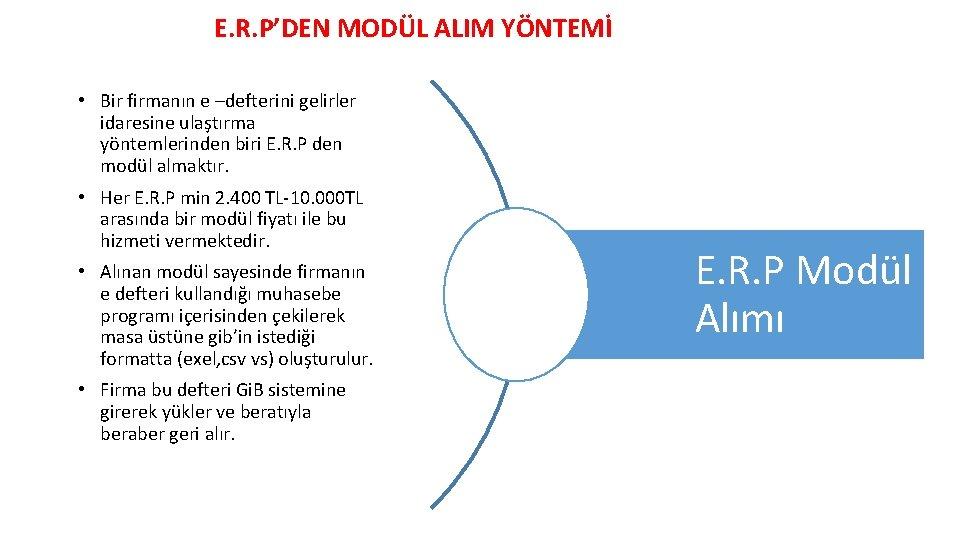 E. R. P'DEN MODÜL ALIM YÖNTEMİ • Bir firmanın e –defterini gelirler idaresine ulaştırma