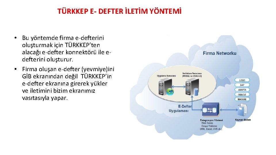 TÜRKKEP E- DEFTER İLETİM YÖNTEMİ • Bu yöntemde firma e-defterini oluşturmak için TÜRKKEP'ten alacağı