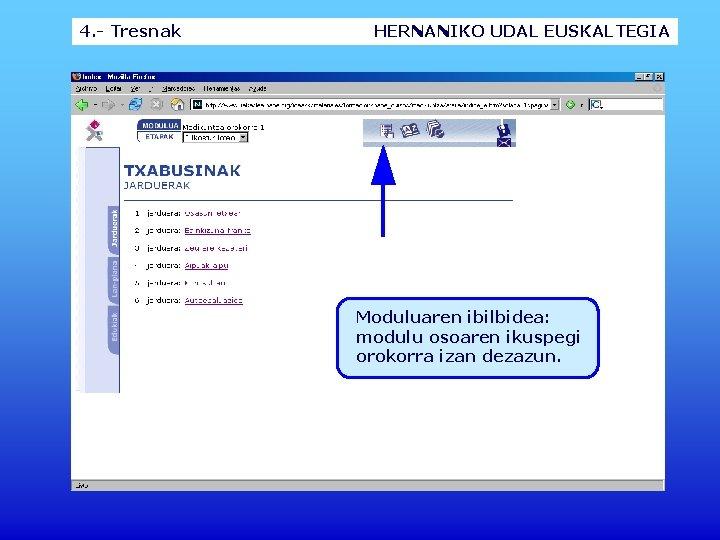 4. - Tresnak HERNANIKO UDAL EUSKALTEGIA Moduluaren ibilbidea: modulu osoaren ikuspegi orokorra izan dezazun.