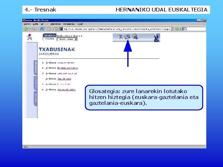 4. - Tresnak HERNANIKO UDAL EUSKALTEGIA Glosategia: zure lanarekin lotutako hitzen hiztegia (euskara-gaztelania eta