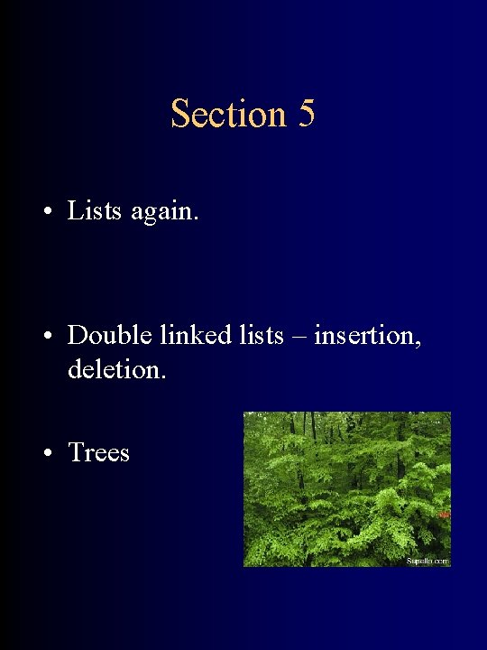 Section 5 • Lists again. • Double linked lists – insertion, deletion. • Trees