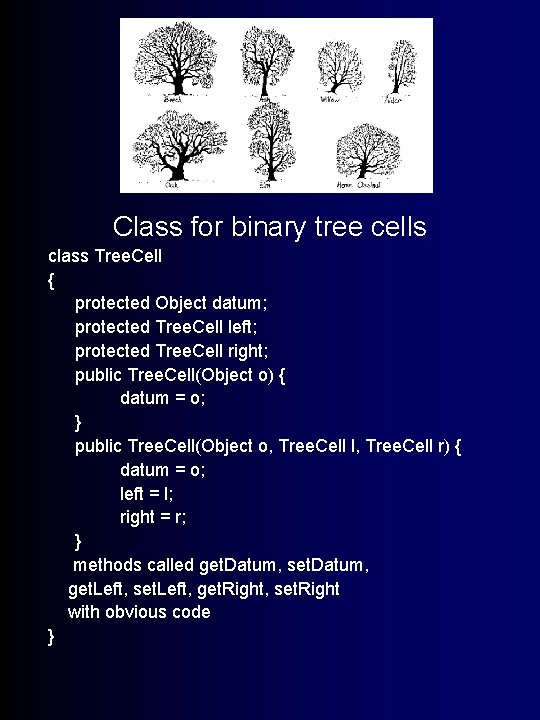 Trees! Class for binary tree cells class Tree. Cell { protected Object datum; protected