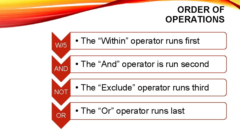 """ORDER OF OPERATIONS W/5 AND NOT OR • The """"Within"""" operator runs first •"""
