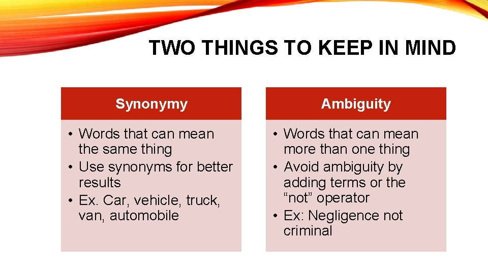 TWO THINGS TO KEEP IN MIND Synonymy • Words that can mean the same