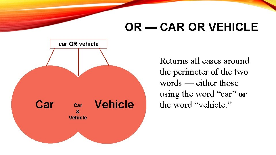 OR — CAR OR VEHICLE car OR vehicle Car & Vehicle Returns all cases