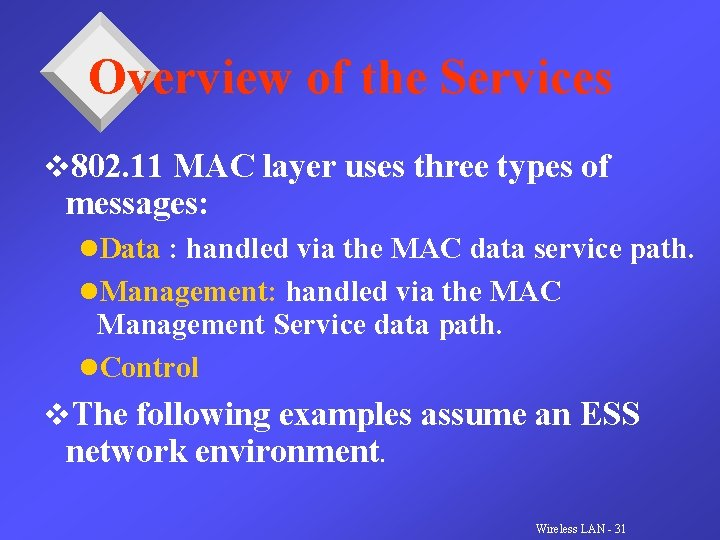 Overview of the Services v 802. 11 MAC layer uses three types of messages: