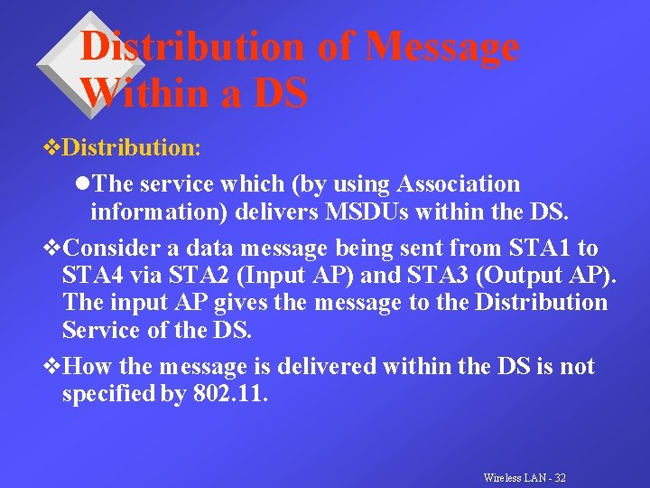 Distribution of Message Within a DS v. Distribution: l. The service which (by using