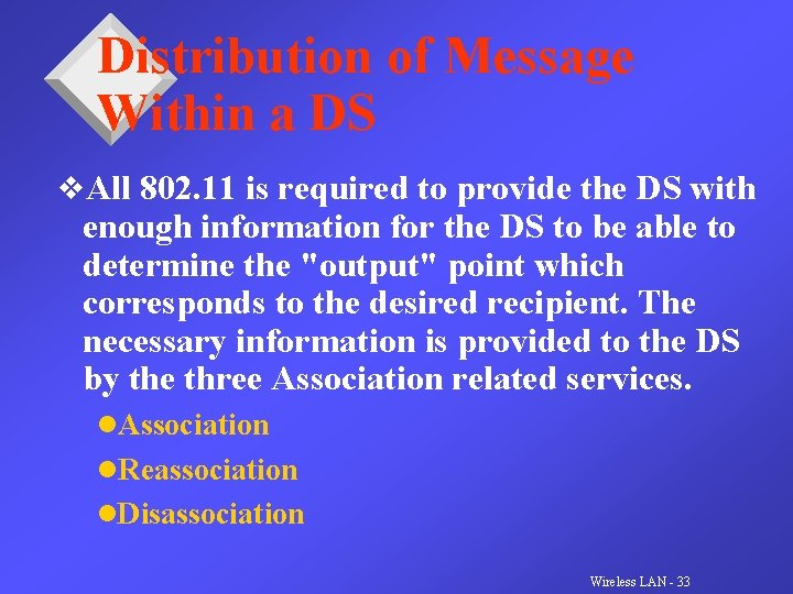 Distribution of Message Within a DS v. All 802. 11 is required to provide