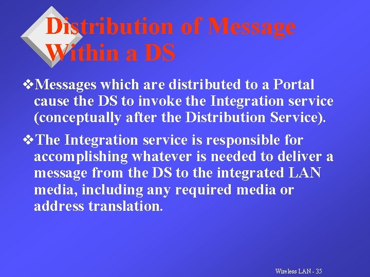Distribution of Message Within a DS v. Messages which are distributed to a Portal