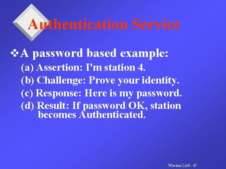 Authentication Service v. A password based example: (a) Assertion: I'm station 4. (b) Challenge: