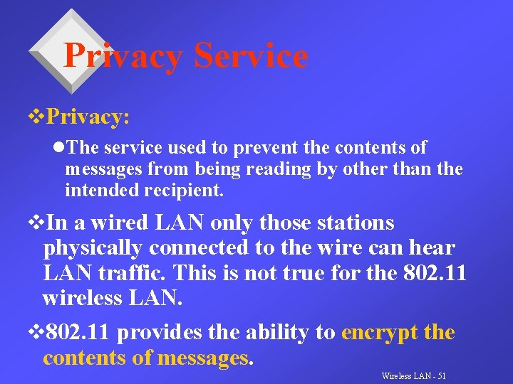 Privacy Service v. Privacy: l. The service used to prevent the contents of messages