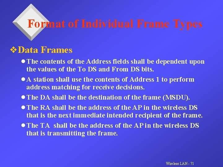 Format of Individual Frame Types v. Data Frames l The contents of the Address