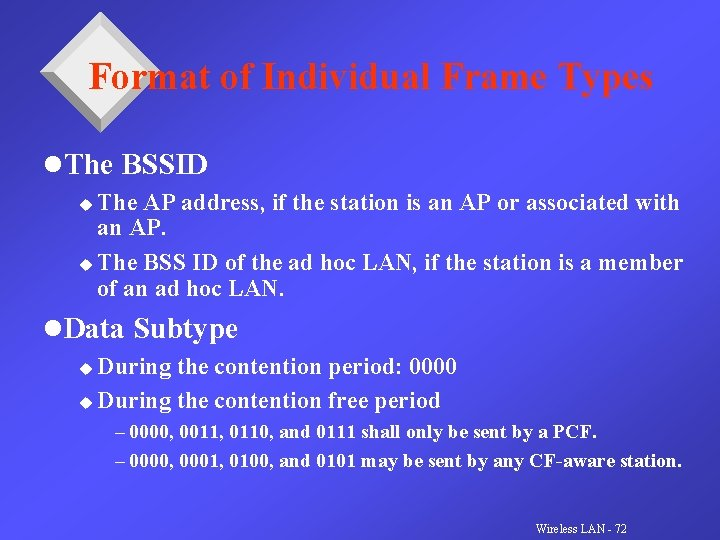 Format of Individual Frame Types l. The BSSID The AP address, if the station