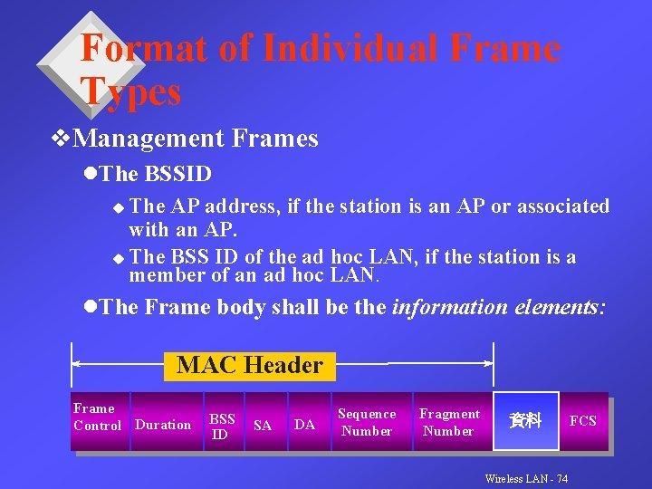 Format of Individual Frame Types v. Management Frames l. The BSSID u The AP