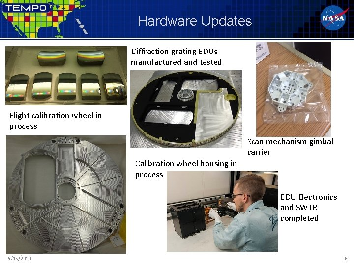 Hardware Updates Diffraction grating EDUs manufactured and tested Flight calibration wheel in process Scan