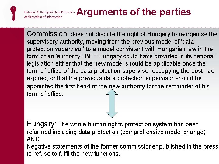 Arguments of the parties Commission: does not dispute the right of Hungary to reorganise