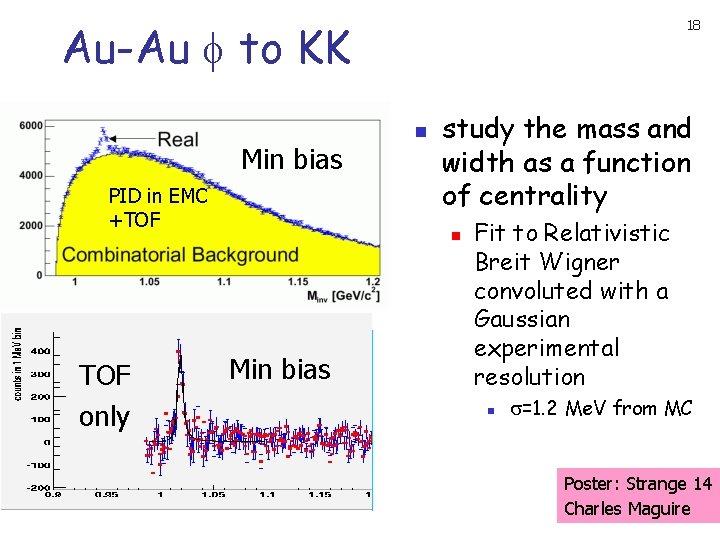 Au-Au to KK Min bias PID in EMC +TOF only 18 n study the