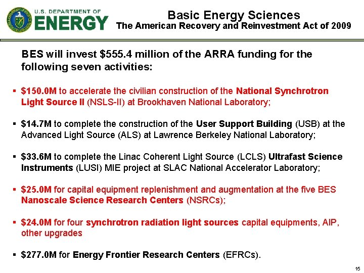 Basic Energy Sciences The American Recovery and Reinvestment Act of 2009 BES will invest