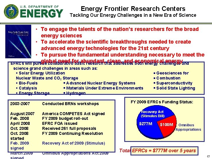 Energy Frontier Research Centers Tackling Our Energy Challenges in a New Era of Science