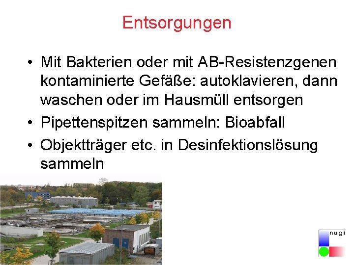 Entsorgungen • Mit Bakterien oder mit AB-Resistenzgenen kontaminierte Gefäße: autoklavieren, dann waschen oder im
