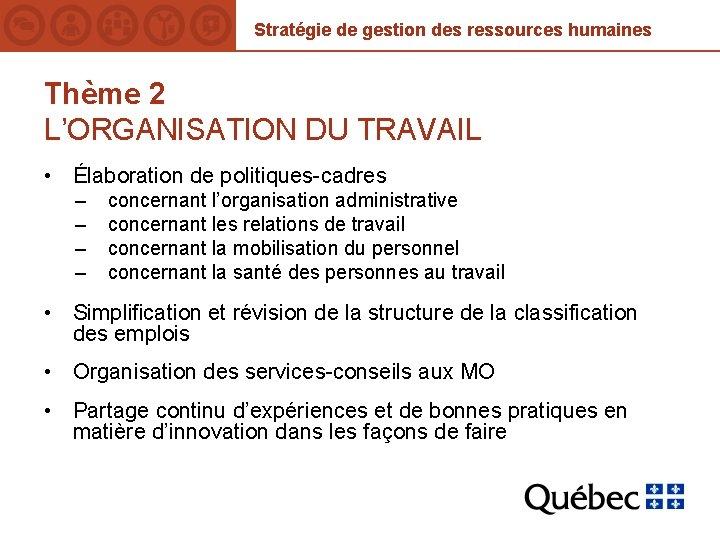 Stratégie de gestion des ressources humaines Thème 2 L'ORGANISATION DU TRAVAIL • Élaboration de