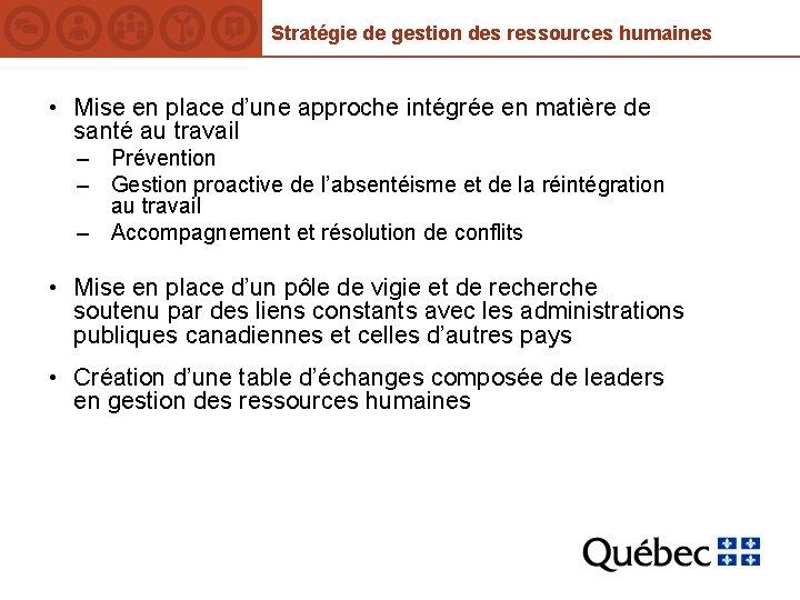 Stratégie de gestion des ressources humaines • Mise en place d'une approche intégrée en