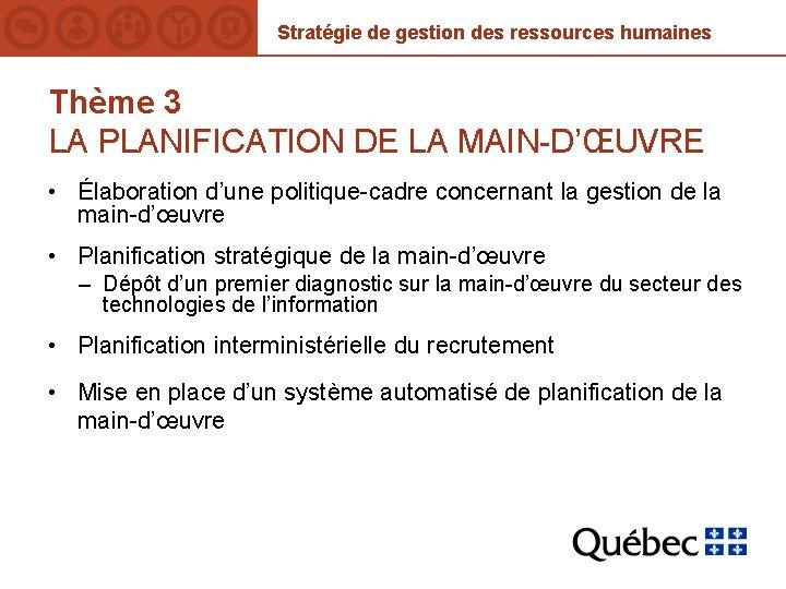 Stratégie de gestion des ressources humaines Thème 3 LA PLANIFICATION DE LA MAIN-D'ŒUVRE •
