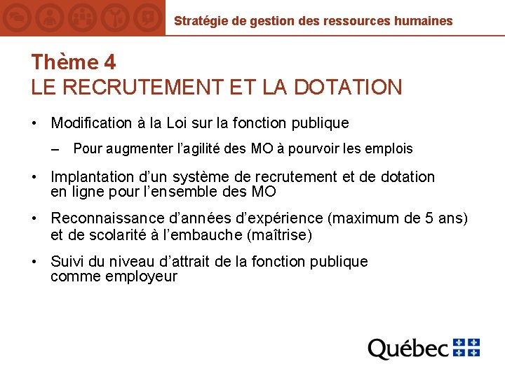 Stratégie de gestion des ressources humaines Thème 4 LE RECRUTEMENT ET LA DOTATION •