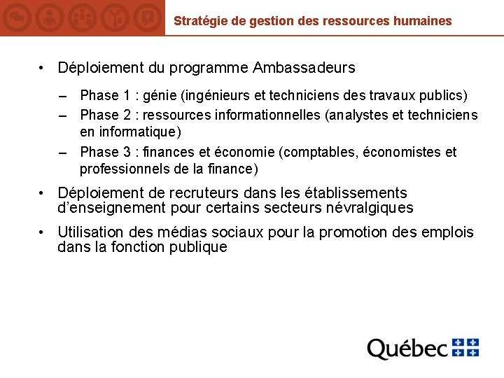 Stratégie de gestion des ressources humaines • Déploiement du programme Ambassadeurs – Phase 1