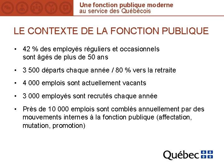 Une fonction publique moderne au service des Québécois LE CONTEXTE DE LA FONCTION PUBLIQUE