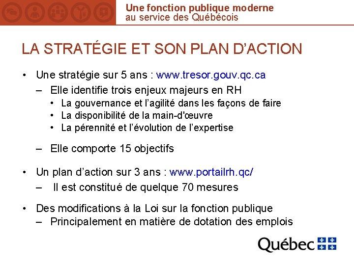 Une fonction publique moderne au service des Québécois LA STRATÉGIE ET SON PLAN D'ACTION