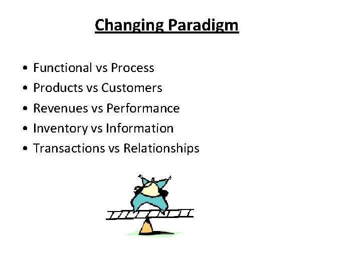 Changing Paradigm • Functional vs Process • Products vs Customers • Revenues vs Performance