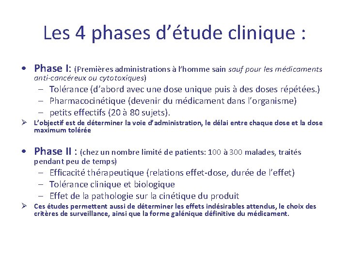 Les 4 phases d'étude clinique : • Phase I: (Premières administrations à l'homme sain