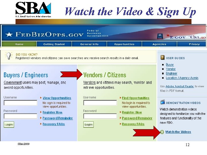Watch the Video & Sign Up SBA/2009 12