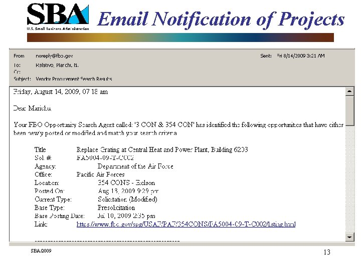 Email Notification of Projects SBA/2009 13
