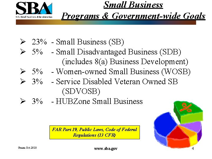 Small Business Programs & Government-wide Goals Ø 23% - Small Business (SB) Ø 5%