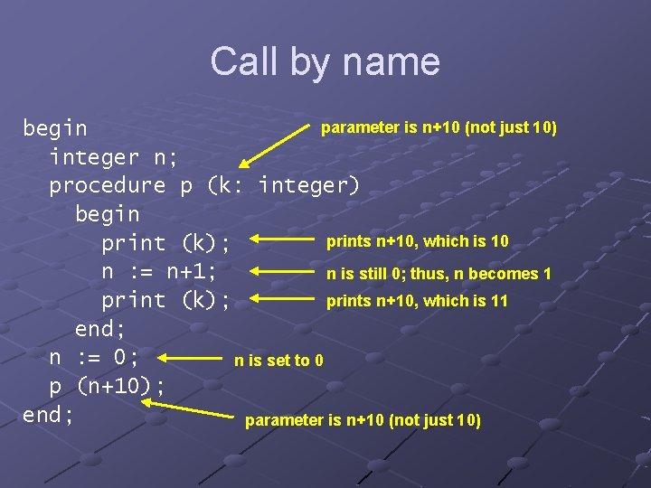 Call by name parameter is n+10 (not just 10) begin integer n; procedure p