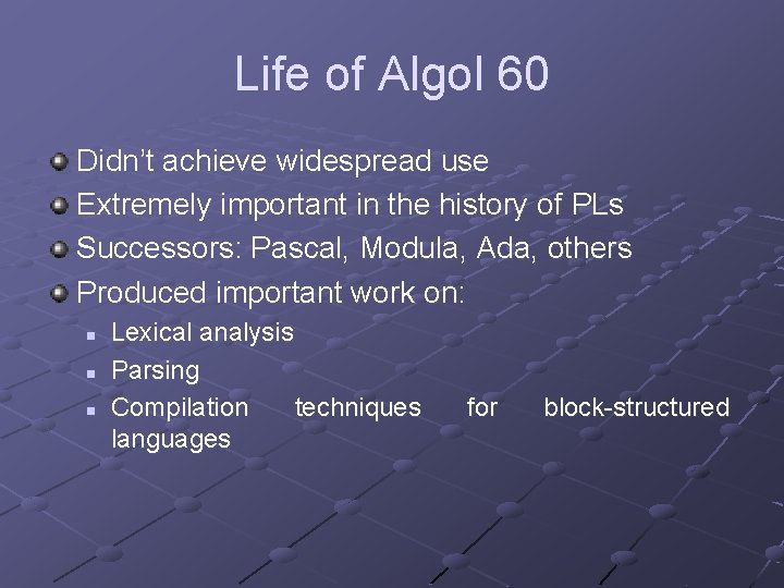 Life of Algol 60 Didn't achieve widespread use Extremely important in the history of